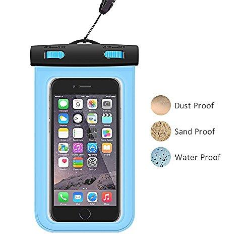 携帯電話防水袋 「2点お得セット」 - 汎用水中撮影携帯タッチパネル防水袋 温泉水泳ダイビング 藍 - 「DAGO-Mart品質保証」