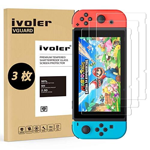 「3枚入り」Nintendo Switch 保護フィルム iVoler 専用強化 ガラスフィルム「日本硝子素材」「ラウンドエッジ加工」 硬度9H 指紋防止 高透過率 ガラス飛散防止 自動吸着 気泡ゼロ