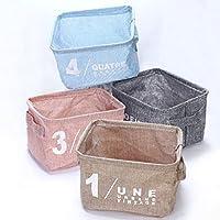 【MUZIKA】コットン生地の 折り畳み式 収納ボックス 小物入れ コスメ 化粧品 の収納に最適 幅20.5×奥行17×高さ15cm 4色セット