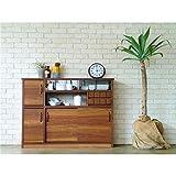木目調スリムカウンター/キッチン収納 【幅120cm】 引き出し収納 引き戸 『MONTシリーズ』
