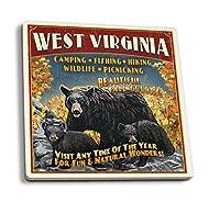 West Virginia–Black Bear Family Vintage Sign 4 Coaster Set LANT-41027-CT