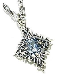 [エムズコレクション] M's collection ダイヤ型 アクアマリン 唐草ストーン シルバー925 ネックレス (専用 ギフトBOX 付き)