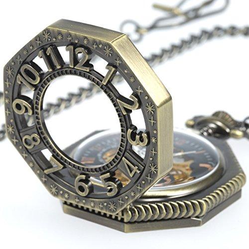 [해외]SIBOSUN 팔각형 커버 회중 시계 태엽 기계식 남성 골동품 체인 해골/SIBOSUN octagonal cover pocket watch hand winding mechanical male antique chain skeleton
