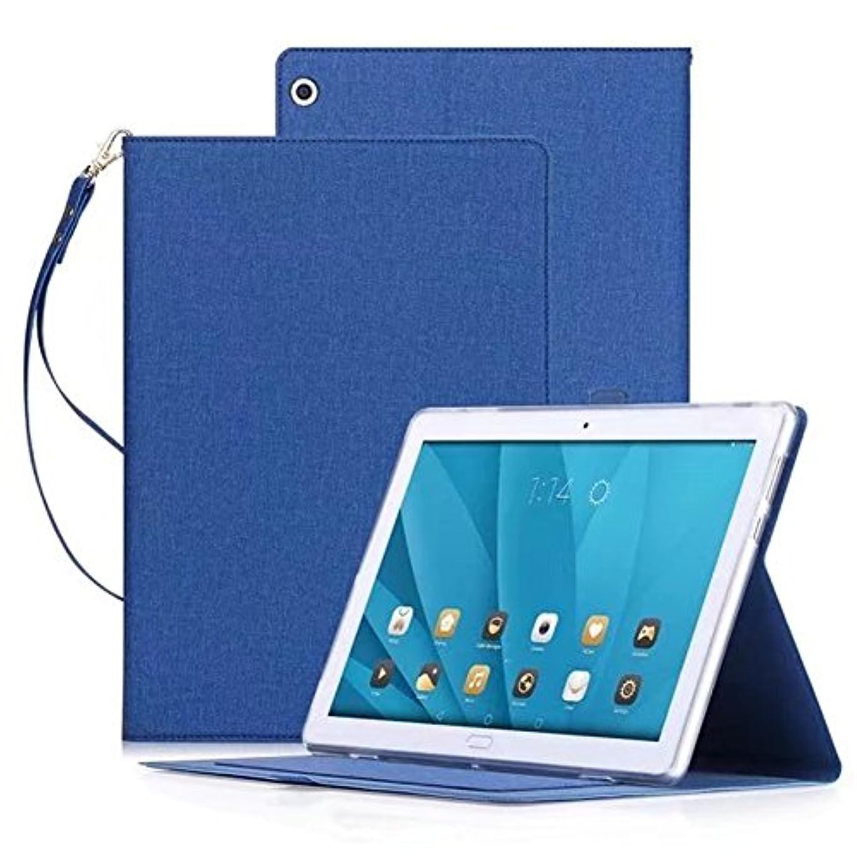 スクリーチグローバル壁紙Vicstar Huawei MediaPad M3 Lite 10 wp/NTTドコモ dtab d-01K ケース カバー NTTドコモ dtab d-01K 保護ケース ストラップあり 手帳型 カバー 高級感PUレザー 超軽量 薄型 傷つけ防止 耐衝撃 スタンド機能付き Huawei 10.1インチ MediaPad M3 Lite 10 wp ケース ブルー