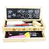 ウッディー ペンケース 黒板付き 引き出し 2段 木製 筆箱 【定規ブックマーク付き】木目がお洒落