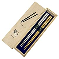 慶事箸 吉祥(金・銀)22.5cm 夫婦セット お祝い事にピッタリな金と銀のお箸です (木箱セット)
