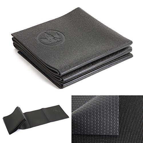 【OHplus】EcoPVC高品質 折りたたみヨガマット 4mm 簡易バッグ付き (ブラック&グレー)