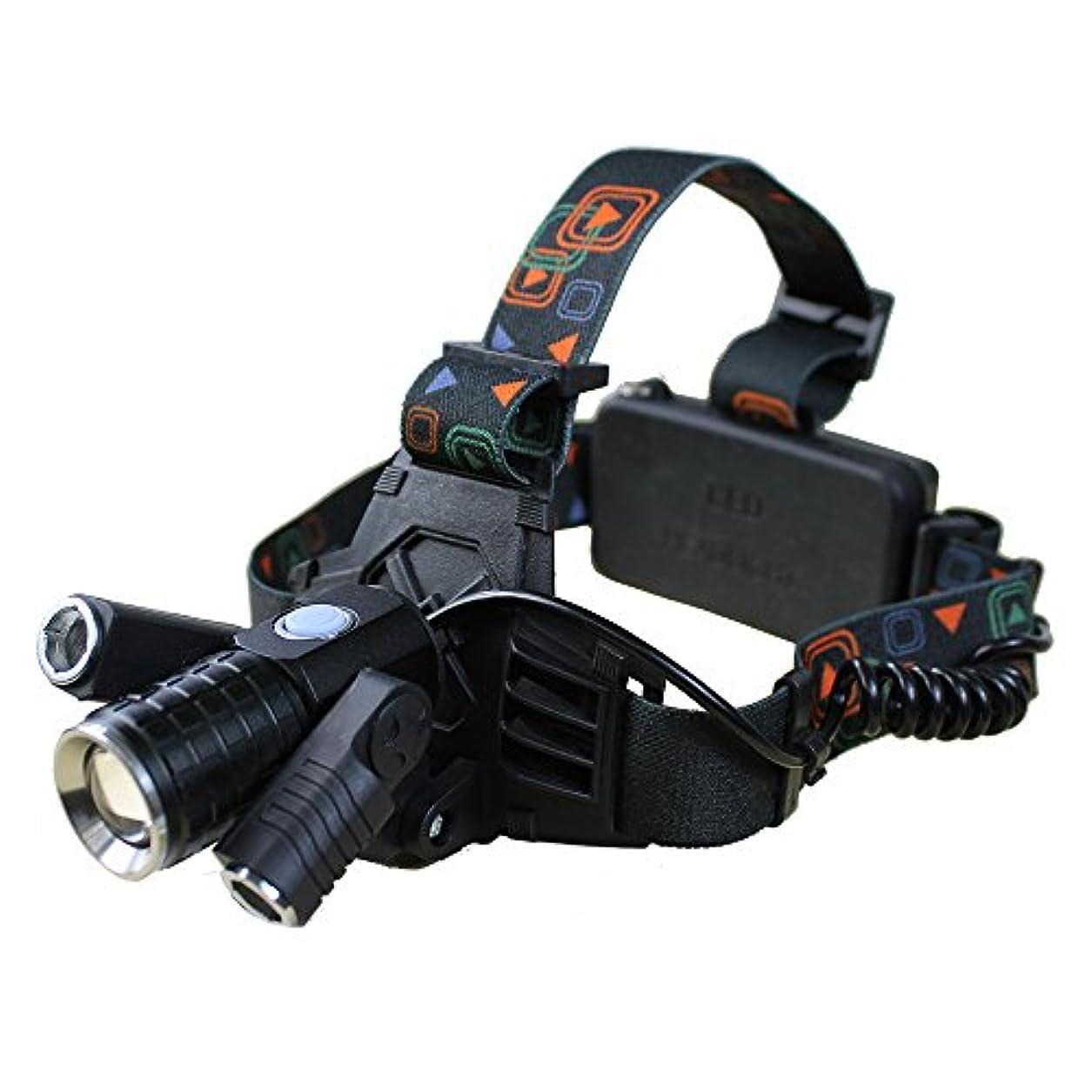 はっきりしない便宜郡LED ヘッドライト ヘッドランプ 充電式 CREE T6 3LED 可動 アウトドア 自転車