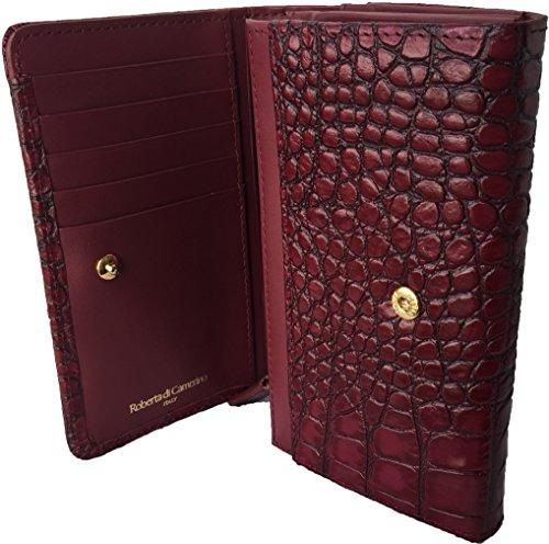 ロベルタ ディ カメリーノ ROBERTA DI CAMERINO クロコダイル型押し レザー二つ折り財布 レッド レディース (専用箱なし)