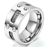 JewelryWe ジュエリー ファッション アクセサリー,メンズ リング 指輪, 婚約 結婚,ステンレス, カラー:シルバー(銀);[ギフトバッグを提供]-[25号]