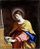 「天使の祭壇シリーズ」 歌が好きな人の守護聖人 聖セシリア(St. Cecilia) フレームセット 祈りの癒し ヒーリング 家の守り神 困難の克服に (ホワイト簡易木製フレームセット) アクセサリークロス≪十字架装飾≫付き