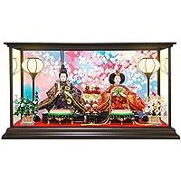 雛人形 ひな人形 コンパクトピンク親王ケース飾り 2018 (Mサイズ, 桜吹雪/金襴衣装)