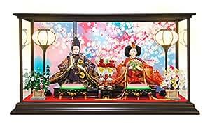 雛人形 ひな人形 コンパクトピンク親王ケース飾り 2017 (Sサイズ, 桜吹雪/金襴衣装)