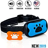 Dog No Bark Collar - Anti Barking Vibration Control Device for Small Medium Large Dogs - Puppy Training Deterrent - No Shock - 2018 Model - Fast Results!