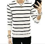 hipa hipa メンズ 服 春 シャツ ボーダー カットソー 長袖 Tシャツ トレーナー アウター 秋冬 トップス ホワイト ネイビー (ホワイトボーダー/ 3XL)