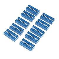 Sharplace 10個 ディップスイッチ DIPスイッチ 2.54mm 16ピン 8ポジション 回路基板 ブルー