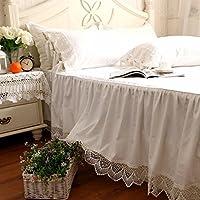 綿100%ホワイトベッドカバー/無地 綿100% 洗える ベッドスカート シングル