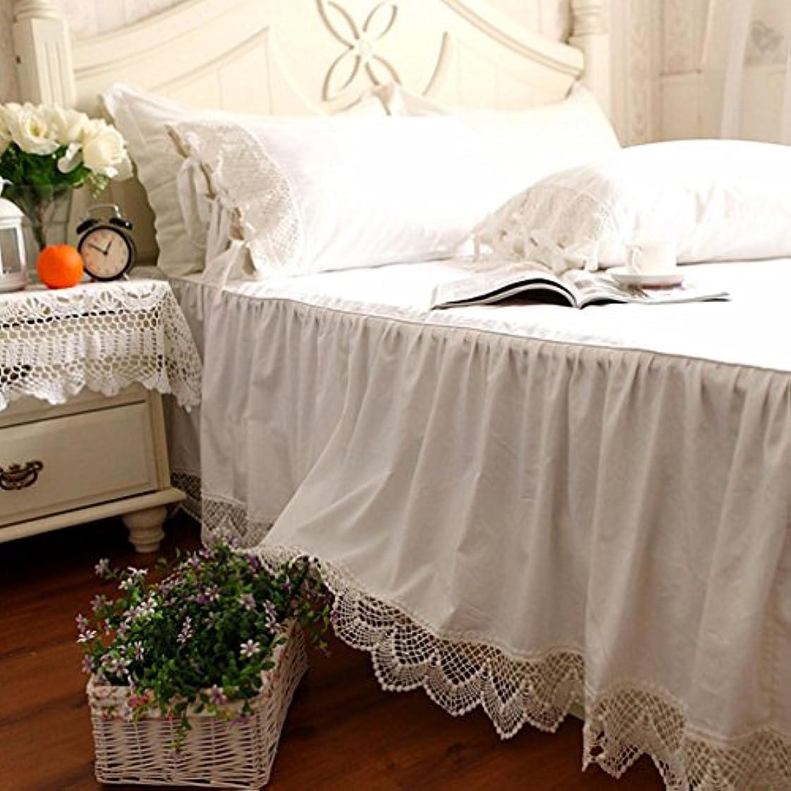 荒廃する子羊僕の綿100%ホワイトベッドカバー/無地 綿100% 洗える ベッドスカート ダブル