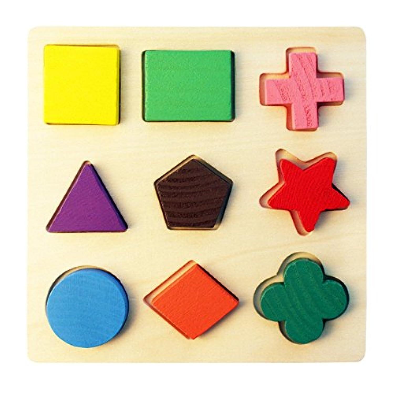 HuaQingPiJu-JP 木製の幼児の幾何学的形状のパズルのおもちゃ