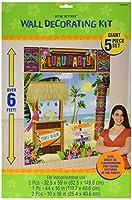 Amscan Sun-Sational Summer Luau Tropical Tiki Scene Setters Wall Vinyl Pack 5 Childrens Party Decorations [並行輸入品]