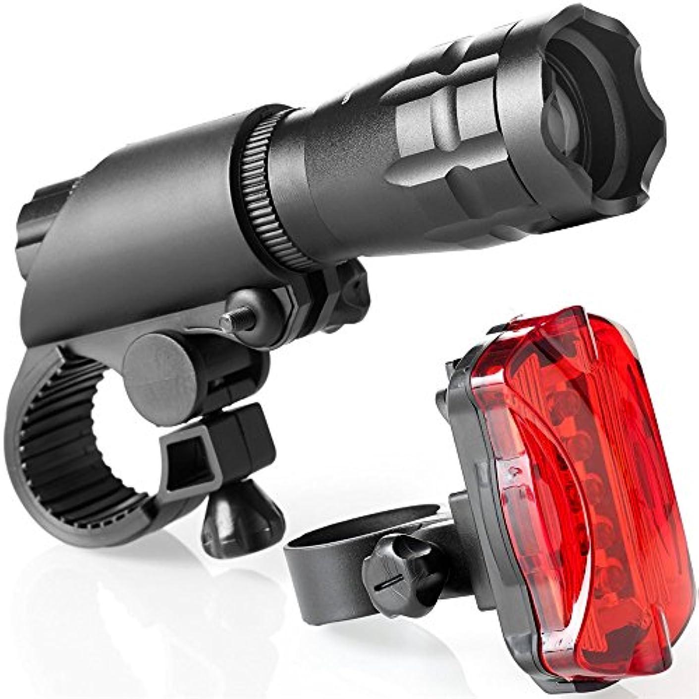 店主シンクつぶやき充電式自転車ライト 充電、ズーム、強いライディング懐中電灯セット - LED自転車ライト1ヘッドライトと1テールライト充電式自転車ライト