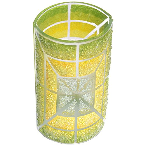 ガラス 花瓶 ボヘミアガラス フラワーベース 20cm グリーン 緑 イエロー 黄色 丸型 職人のハンドメイド 北欧 直輸入 Box入り