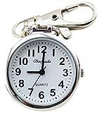 懐中時計 【Ladyclare】 小さな キーチェーンウォッチ フックウオッチ 見やすい文字盤 時計 キーホルダー シルバー メンズ レディース キッズ 子供 【正規品】