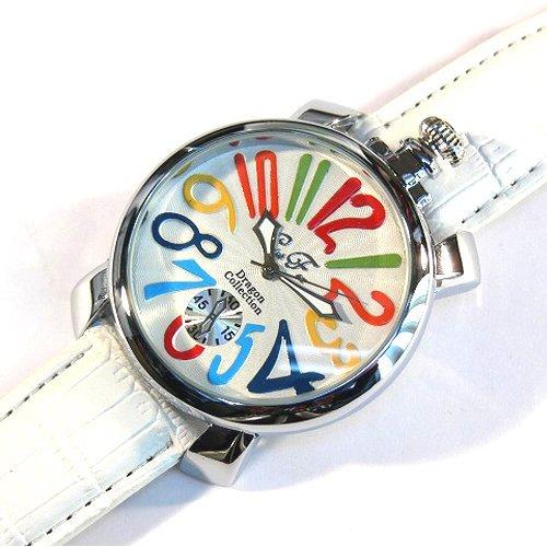 マルチ×ホワイト(G) トップリューズ式ビッグフェイス腕時計 マットタイプ47mm GaGa MILANO ガガミラノ好きに(全8色)