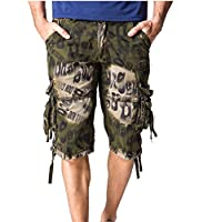 FLF Men's Camo Cargo Shorts Burnout Jogger Shorts 3/4 Sport Pants Casual Harem Midi Baggy