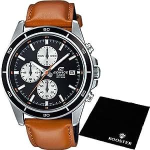 【セット】[カシオ] CASIO 腕時計 EDIFICE エディフィス 100m防水 クロノグラフ EFR526L-1B メンズ &ROOSTER マイクロファイバークロス 15×15cm付き [並行輸入品]