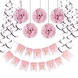 Easy Joy  誕生日飾り付けセット ピンク系 1歳 2歳 ハーフバースデー パーティーデコレーション 受付飾り 装飾