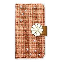 ホワイトナッツ LG style L-03K スマホケース 手帳 ツィードデコ オレンジ ケース エルジー スタイル 手帳型 カバー スマホカバー WN-OD412830_L
