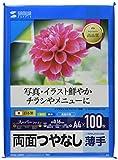 サンワサプライ コピー用紙 A4 薄手 100枚 インクジェット用両面印刷紙 JP-ERV4NA4N-100