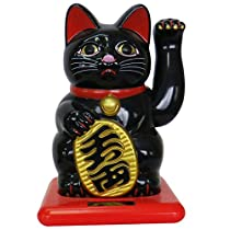 開運ソーラー招き猫 全国主要宝くじ売場約2000店設置 小型 黒 RC-46JB