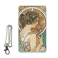 ICカード用パスケース 定期入れ 西洋名画 アルフォンス・ミュシャ 桜草