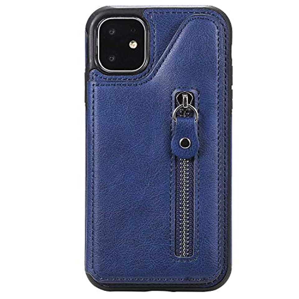 伝統ランタン高架OMATENTI iPhone 11 6.1 ケース, PUレザー 薄型 簡約風 人気 新品 バックケース iPhone 11 6.1 用 Case Cover, 財布とコインポケット付き, 液晶保護 カード収納, 青