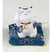 招き猫「猫」ミニ 藍 ちりめん 龍虎謹製040-0124