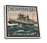 チェサピークベイTugboatシーン 4 Coaster Set LANT-34065-CT