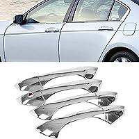 8 本のシルバークローム車のエクステリアアクセサリーサイドドアハンドルカバートリム装飾ホンダアコード 2008 2009 2010 2011 2012