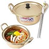 Korean Noodle Pot Yellow Ramyun Pot Aluminum 6.3(16cm) + Chopstick (1 Pairs) Made in Korea