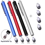MEKO スタイラスペン タッチペン iPhone iPad Android タブレット 4本+交換用ペン先4個 7mm (黒+赤+青+銀)