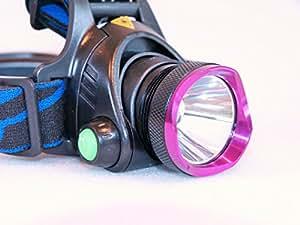 LEDパープルヘッドライト 充電式 CREE XM-L T6 角度調整可能 1800ルーメン 3段階点灯 夜の作業 夜釣り アウトドアに 【充電器+3時間用18650ロング電池(保護回路付き)×2本サービス】日本語説明書付き