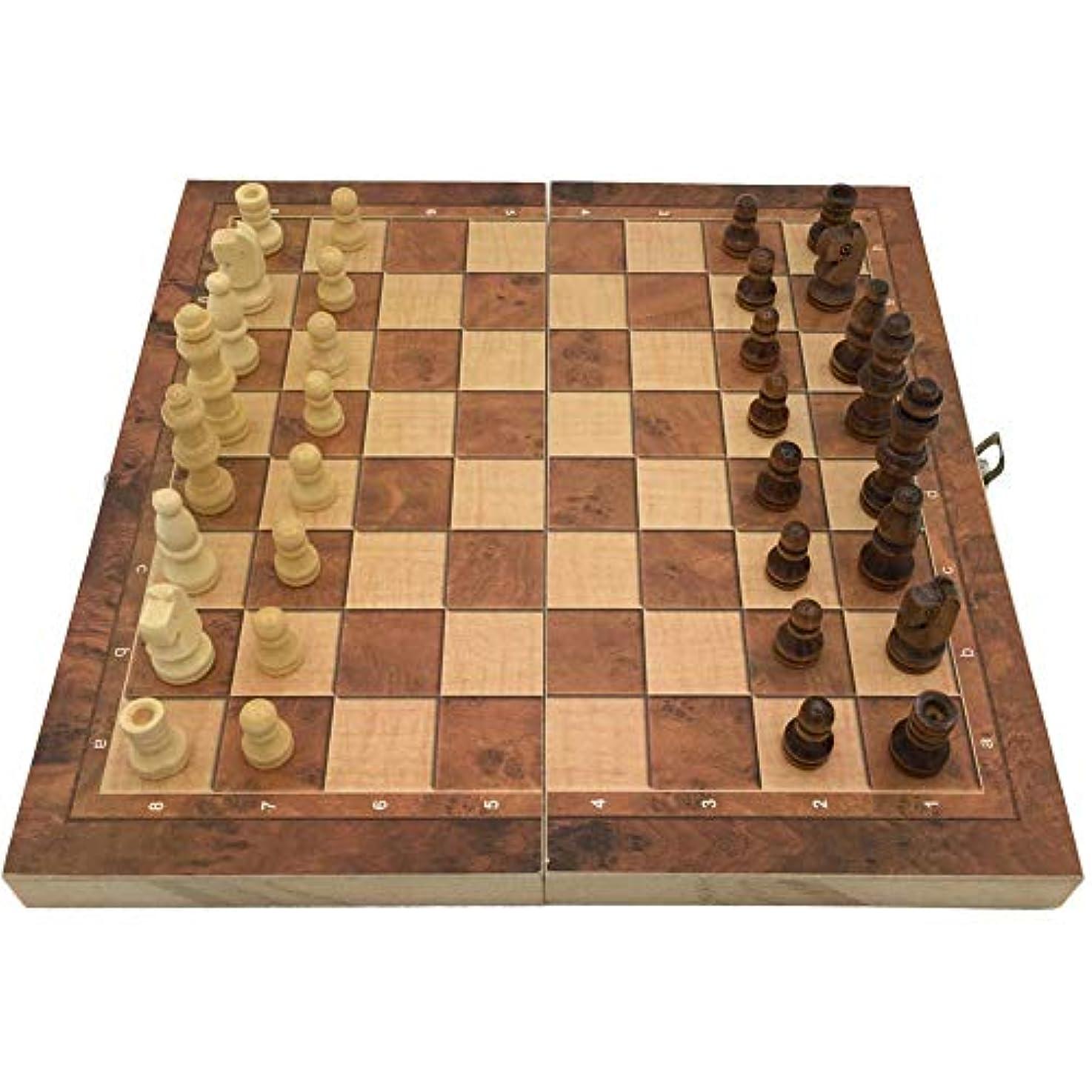 Rocomoco チェス 駒 木製 チェッカー 折り畳み式 ゲーム バックギャモン ギフト 24cm