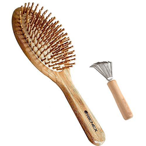 Orienex ヘアブラシ ヘアケア 木製 頭皮 マッサージ 艶髪 木製櫛 美髪ケア ブラシクリーナー付き