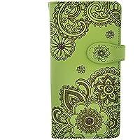 Shagwear Women's Large Zipper Wallet Henna Design Lime