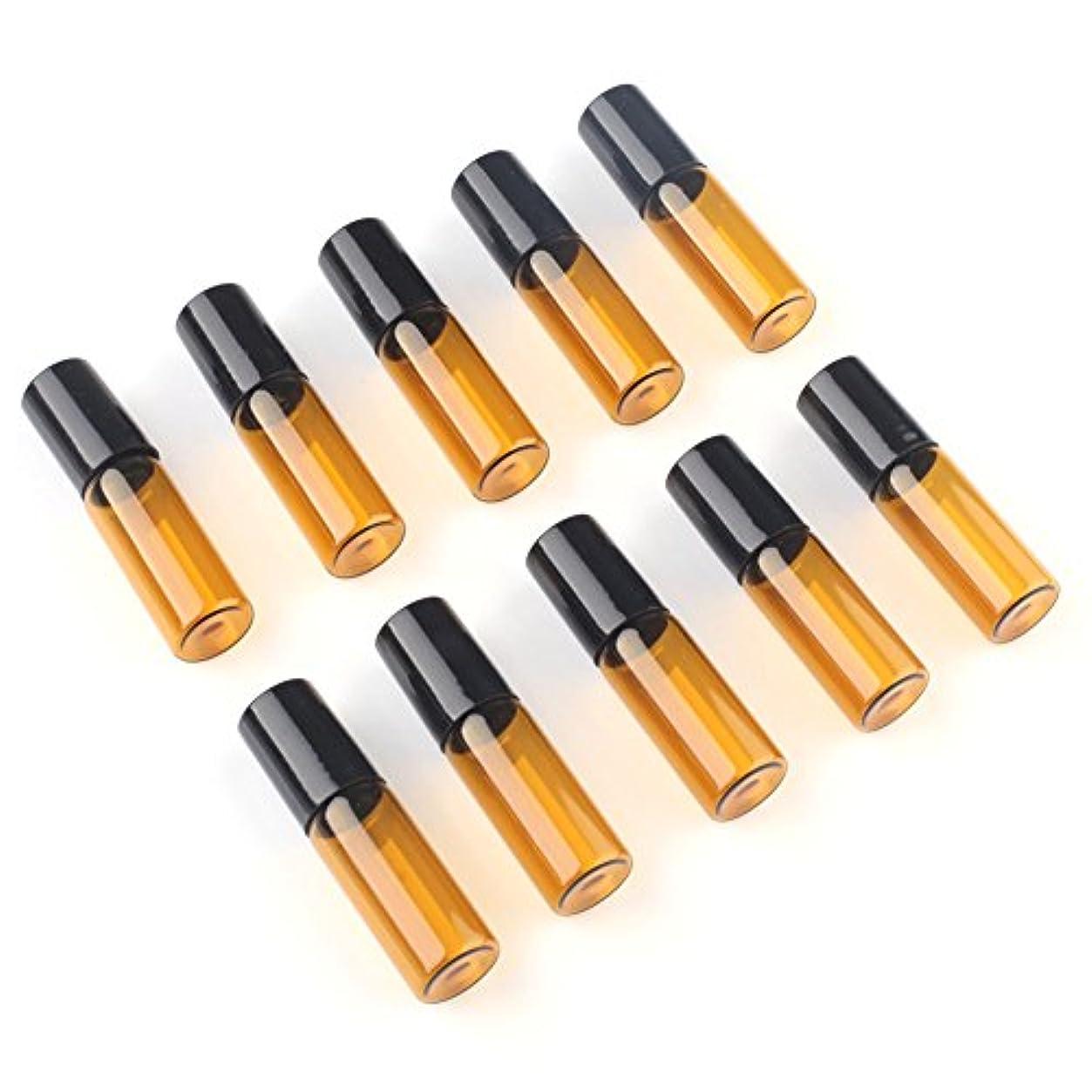 ピンチ密輸したいSAGULU アロマオイル 精油 小分け用 遮光瓶 遮光ビン ミニガラスアロマボトル エッセンシャルオイル用容器 スチールボールタイプ 5ml、10ml選択可能 アンバー 10本セット (5ml)