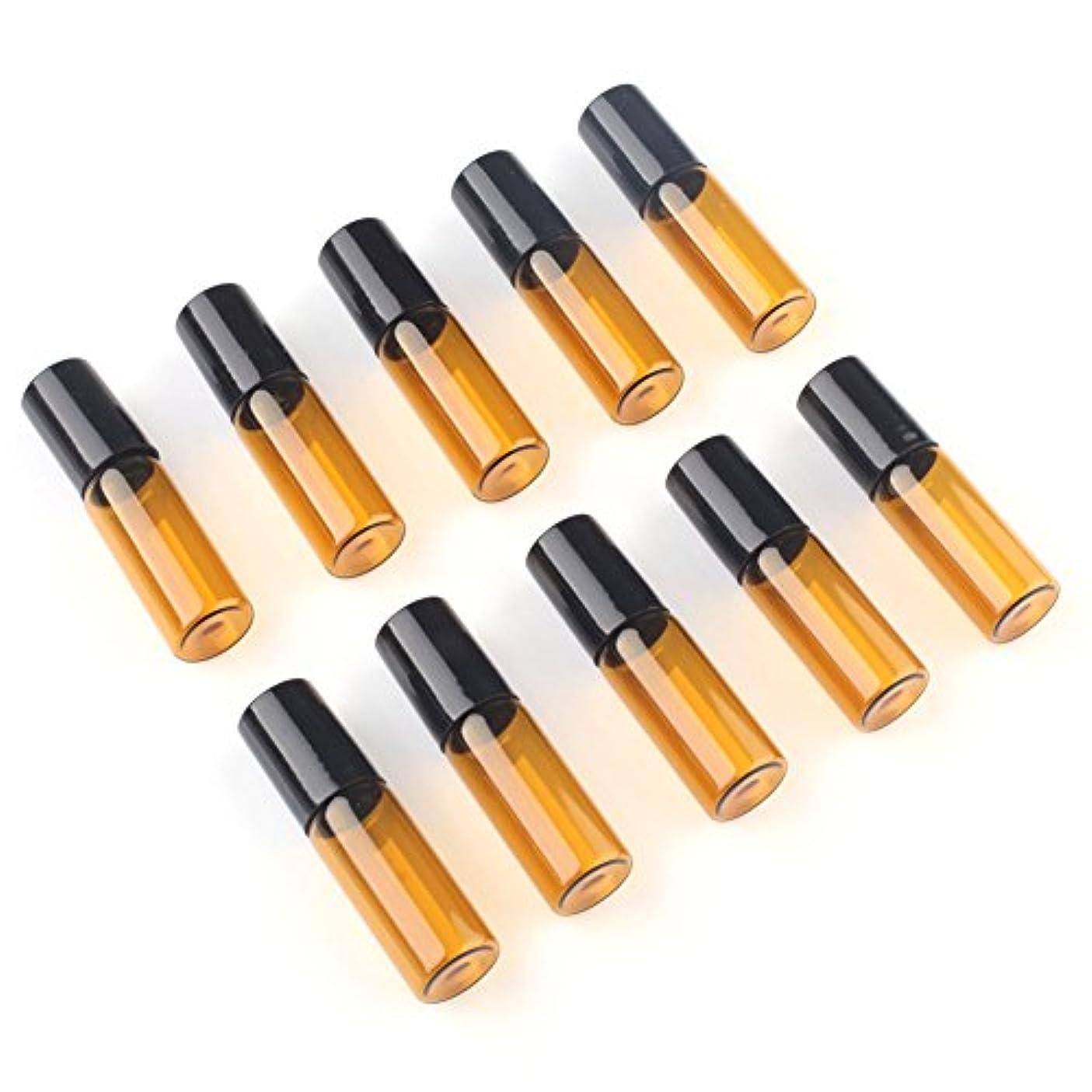 適応するトロイの木馬音楽家SAGULU アロマオイル 精油 小分け用 遮光瓶 遮光ビン ミニガラスアロマボトル エッセンシャルオイル用容器 スチールボールタイプ 5ml、10ml選択可能 アンバー 10本セット (5ml)