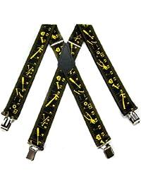 ブラック – Yellow Worker – ルーラー耐久性メンズサスペンダー – Made in the USA