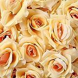 D-drempating 造花 バラ 8センチ 手作り ローズ 50個 セット パーティー ウエディング 結婚式 誕生会 二次会 (オレンジピンク)pa055