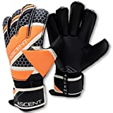 Ascent GK - Goalkeeper Gloves with Removable Pro Fingersaves, Roll Cut - Adult, Youth, Unisex - Soccer Goalie Gloves